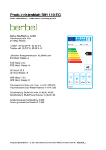 Produktdatenblatt berbel Island hood Ergoline BIH 110 EG