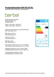 Produktdatenblatt berbel Island hood Blockline BIH 90/120 BL
