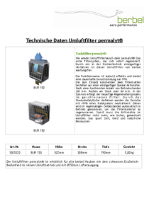 Technical data berbel Umluftfilter permalyt BUR